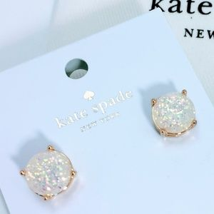 New - Kate Spade White Glitter Gum Drop Studs